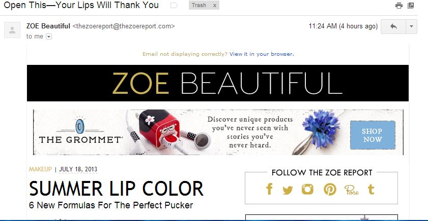 zoe report email